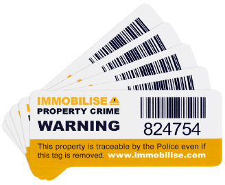 Immobilise tamper evident barcoded security sticker image